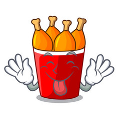 tongue out fried chicken bucket isolated on mascot vector image