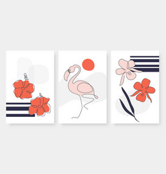 tropical flowers flamingo in continuous simple vector image