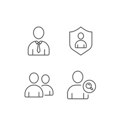 Users group search and businessman line icons vector