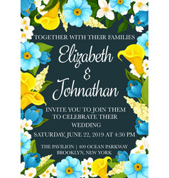 Wedding party invitation banner with flower frame vector