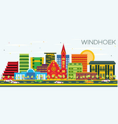 Windhoek skyline with color buildings and blue sky vector