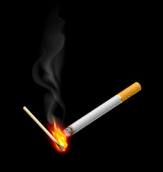 cigarrette with burning match on black vector image vector image