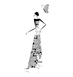 Fashion girl silhouette in wedding dress vector image vector image
