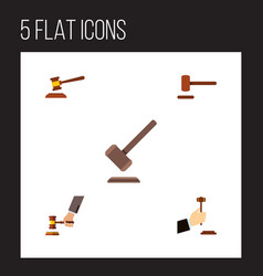 flat icon court set of tribunal hammer crime and vector image vector image
