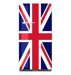 Retro fridge with UK flag vector image vector image