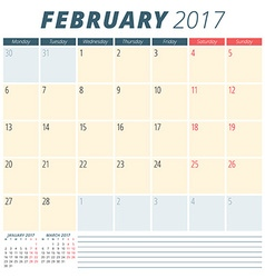 February 2017 Calendar Planner for 2017 Year Week vector image vector image