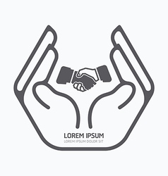 Hand holding business logo design safety care vector image