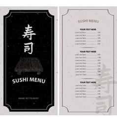 Menu with hieroglyph sushi vector