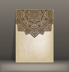 old paper card with circular pattern vector image vector image