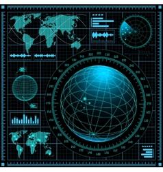 Radar screen with world map vector image