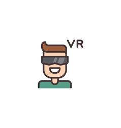 Virtual Reality Helmet Icon vector image