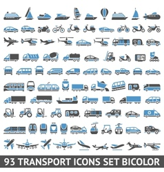 93 Transport icons set blue and gray vector image