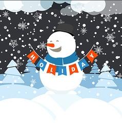 Christmas greeting card with white christmas vector image vector image