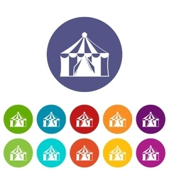 Circus tent set icons vector