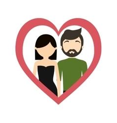 couple love frame heart fashionable modern vector image
