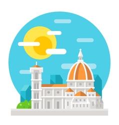 Florence cathedral flat design landmark vector image vector image