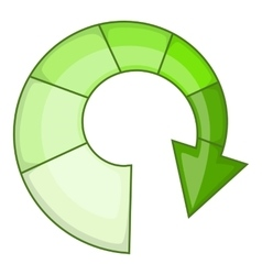Green spiral arrow icon cartoon style vector image