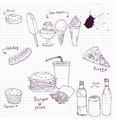 set of fast food sketch vector image vector image
