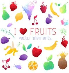 Set of geometric fruit icons vector image
