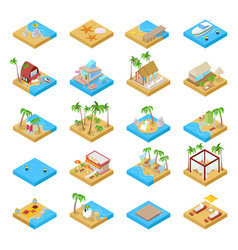 beach vacation collection with bungalow isometric vector image