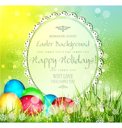 Easter background with frame for text and eggs vector