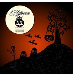 Halloween text full moon pumpkin spooky cemetery vector image vector image