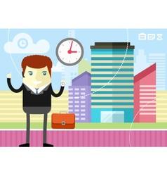 Happy businessman showing clock vector image