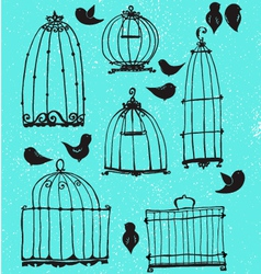 Set of doodle cages and little birds vector image vector image