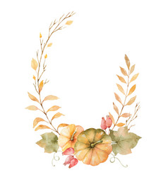 watercolor autumn wreath of leaves vector image vector image