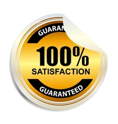 100 satisfaction label stickers vector