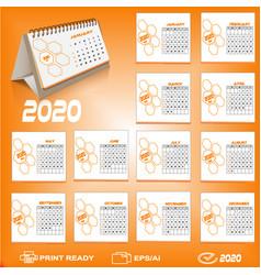 2020 desk calendar design vector image