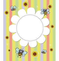 A flowery designed empty template with bees vector