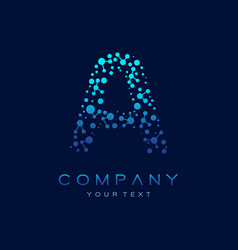 a letter logo science technology connected dots vector image
