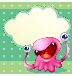 A pink monster with an empty callout at the back vector