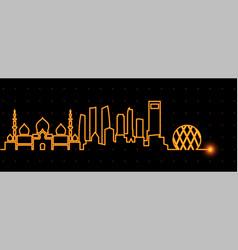 Abu dhabi light streak skyline vector