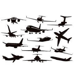 Aircraft silhouettes set vector