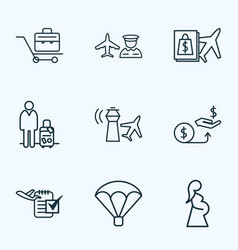 Airport icons line style set with man with travel vector