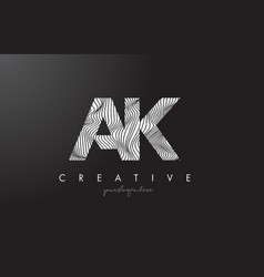 Ak a k letter logo with zebra lines texture vector