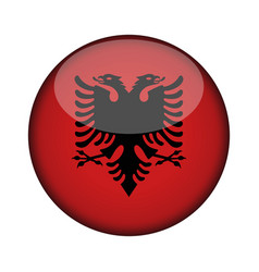 Albania flag in glossy round button of icon vector