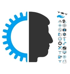 Android Head Icon With Copter Tools Bonus vector