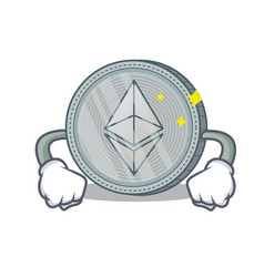Angry ethereum coin character cartoon vector