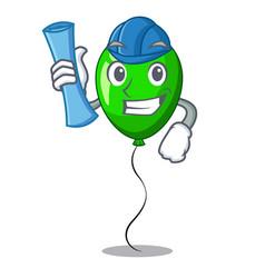 Architect green baloon on left corner mascot vector