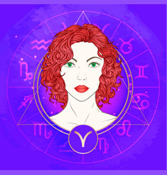 Aries zodiac sign and portrait vector