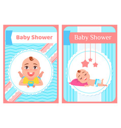 bashower greeting card with babies boy or girl vector image