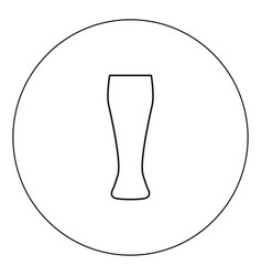beer glass icon black color in circle isolated vector image