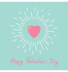 Big pink shining heart word love Valentines day vector image
