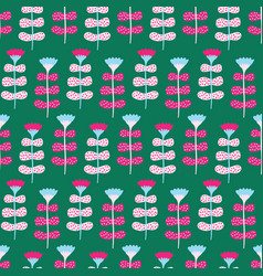 Bright flower blooms seamless pattern stylized vector
