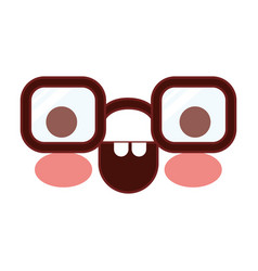 caricature glasses with happy expression in vector image