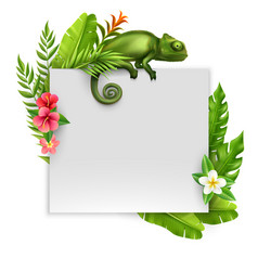 Chameleon frame realistic composition vector