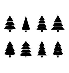 christmas tree black white set vector image